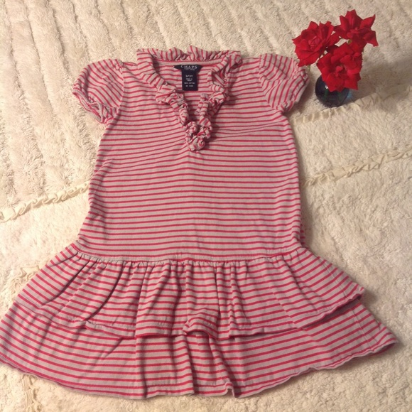 36b289a61250 Chaps Dresses | Striped Girls Dress With Ruffled Collar | Poshmark